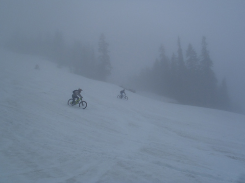 Whistler Bike Course snow shredding