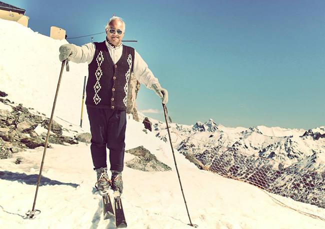 wooden skis, vintage skier, 1930's skier, Cerro Catedral vintage ski race, Peak Leaders ski instructor course