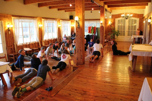 Peak Leaders Bariloche Argentina_ski instructor training course 2015_BASI group stretching out_yoga